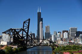 The Saint Charles Bridge And Baltimore And Ohio Chicago Terminal Railroad Bridge Over The Chicago Ri