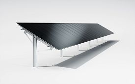 Futuristic, Modern And Aesthetic Black Monocrystalline Solar Panel System On White Background. 3d Il