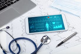 Live medical screening with medical application on tablet