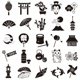 Japan Icons Set On A White Background