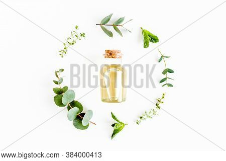 Essential Oil And Round Wreath Frame Made Of Mix Of Herbs, Green Branches, Leaves Mint, Eucalyptus,