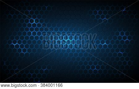 Dark Blue Technology Hexagonal Vector Background. Abstract Blue Bright Energy Flashes Under Hexagon