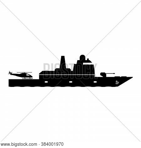 Frigate Warship With Helicopter Dock. Icon Pictogram Depicting Frigate Navy Naval Military War Batte