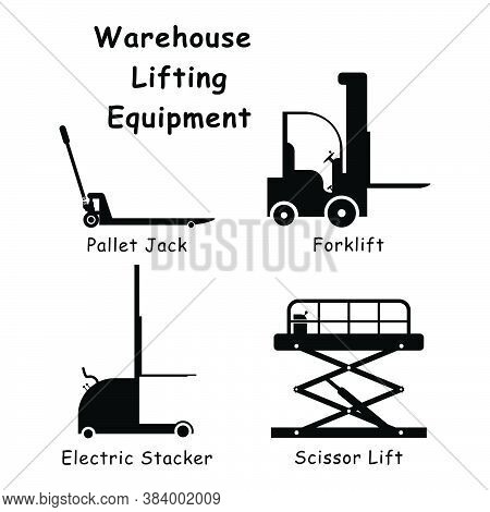 Warehouse Lifting Equipment. Black And White Pictogram Illustration Depicting Various Factory Wareho