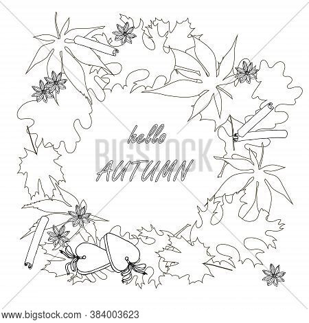 Hello Autumn On Leaves Monochrome Banner. Maple Oak Leaves Background. Coloring Page Art Autumn Desi