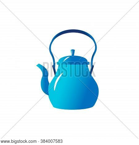 The Blu Teapot Is For The Kitchen. Vector Illustration Isolated On White Background. For Icons Or Lo