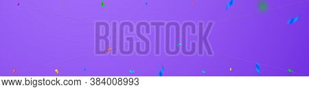 Streamers And Confetti. Colorful Streamers Tinsel And Foil Ribbons. Confetti Border On Violet Backgr