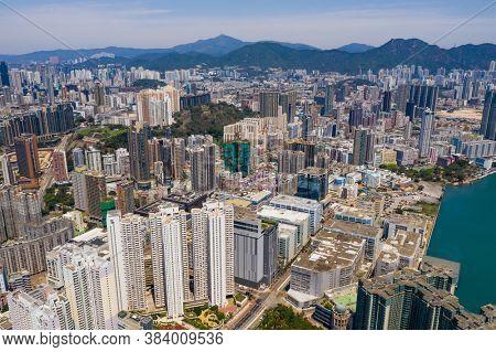 To Kwa Wan, Hong Kong 13 April 2020: Drone fly over Hong Kong city