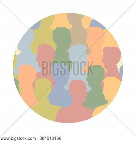 Diverse Multicultural Group Of People Standing Together (europian, Asian, American) In Round Shape.