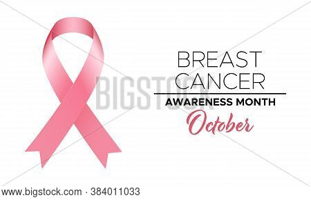 Breast Cancer Awareness Month October. Template With Pink Ribbon And Text For Poster Or Banner. Vect