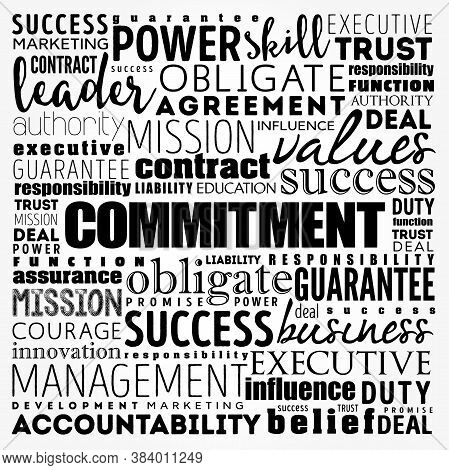 Commitment Word Cloud Collage, Business Concept Background