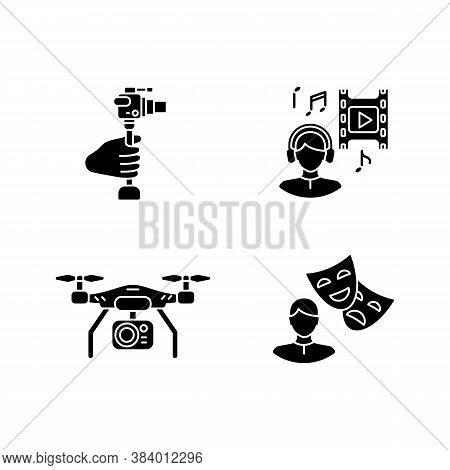 Produce Film Black Glyph Icons Set On White Space. Lightweight Minicamera For Hobby Filmmaking. Musi