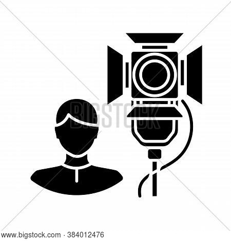 Lighting Technician Black Glyph Icon. Professional Worker For Electrical Equipment. Stage Spotlight