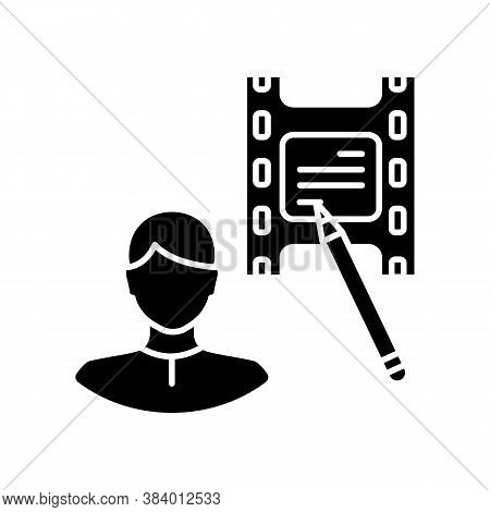 Screenwriter Black Glyph Icon. Screenplay Author. Film Production Specialist. Movie Producer. Write