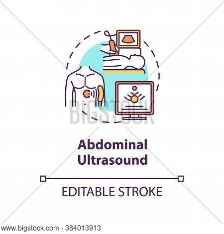 Abdominal Ultrasound Concept Icon. Medical Diagnostics Procedure, Sonography Idea Thin Line Illustra