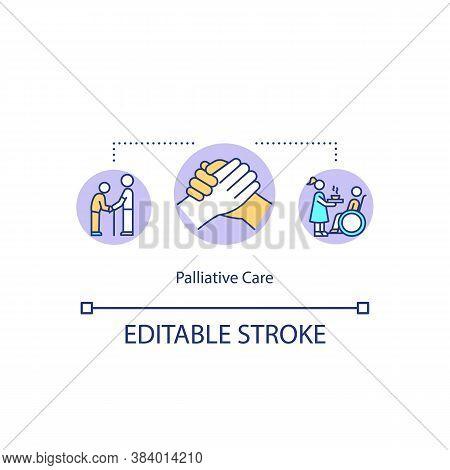 Palliative Care Concept Icon. Healthcare Service, Medical Caregiving Idea Thin Line Illustration. Nu