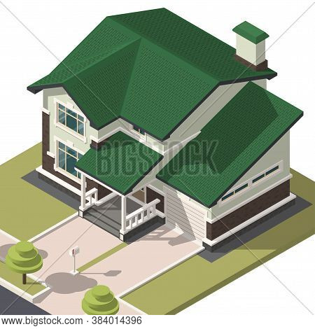 Family House Isometry. Hyper Detailing Isometric View Of The House. 3d Object For Video Games Or Rea