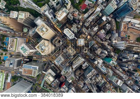 Central, Hong Kong 30 July 2020: Top down view of Hong Kong