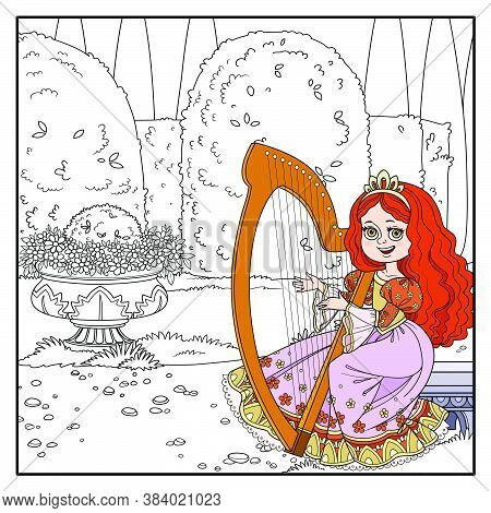 Beautiful Princess Playing The Celtic Harp In Palace Park With Topiary And Flowers Outlined For Colo