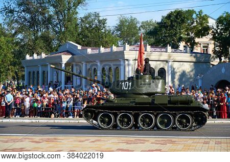 Tiraspol, Transnistria - September 2, 2020: military parade dedicated to the 30th anniversary of independence, ordered military equipment, tanks, guns and other weapons in the street