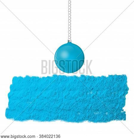 Original Brush Stroke Blue, Uneven, Rough Surface, Ball On Chain - Isolated On White Background - Ve