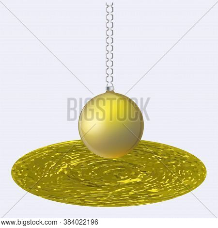Original Brush Stroke, Golden Dish, Uneven, Rough Surface, Ball On A Chain - Isolated On White Backg