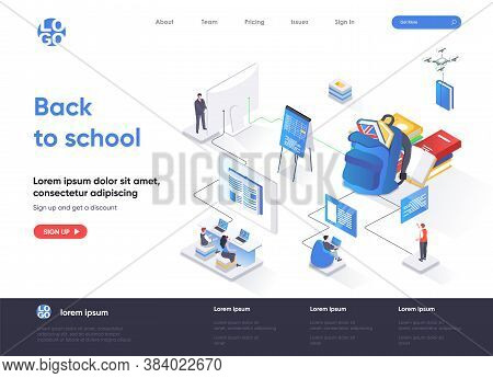 Back To School Isometric Landing Page. Elementary And High Schools Education Isometry Concept. Dista