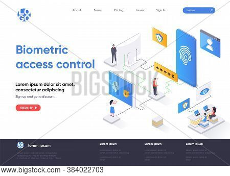 Biometric Access Control Isometric Landing Page Design. Fingerprint Scan Provides Security Access Is