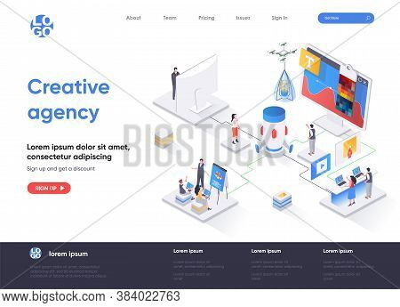 Creative Agency Isometric Landing Page. Creative Design Workshop Isometry Concept. Professional Bran