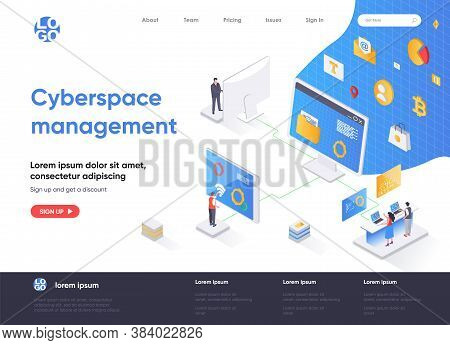 Cyberspace Management Isometric Landing Page. Digital Security And Network Management Software Isome