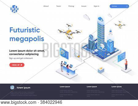 Futuristic Megapolis Isometric Landing Page Design. Modern Architecture And Digital Technologies Iso