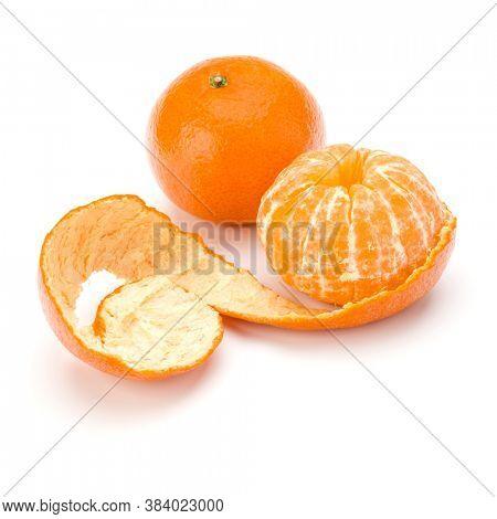 Peeled tangerine or mandarin fruit isolated over white background cutout