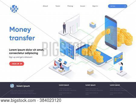Money Transfer Isometric Landing Page. Internet Banking Mobile Application Isometry Concept. Online