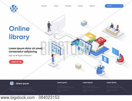Online Library Isometric Landing Page. E-library Application, Electronic Books Service Isometry Conc