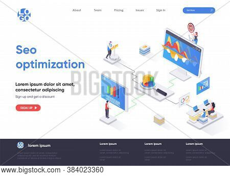 Seo Optimization Isometric Landing Page Design. Internet Analytics, Online Research Software Isometr