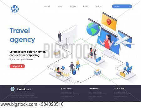 Travel Agency Isometric Landing Page. Online Booking Service, Comfortable Air Transportation, Airpor