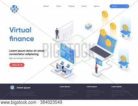 Virtual Finance Isometric Landing Page. Internet Banking Service, Financial Management Isometry Conc