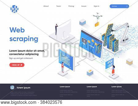 Web Scraping Isometric Landing Page. Process Of Automatic Collecting And Parsing Raw Data From Web I