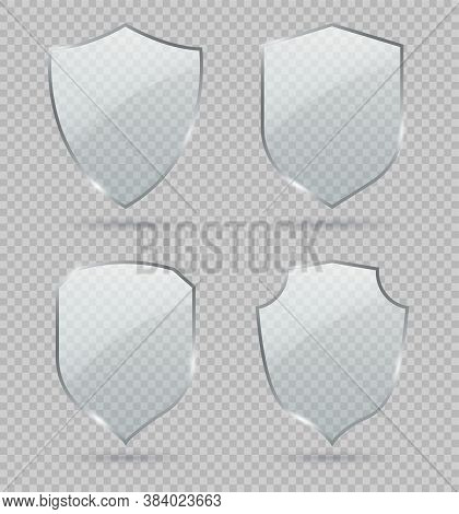 Glass Shield. Set Of Transparent Glass Shields. Conceptual Symbol Of Protection, Safety, Security An