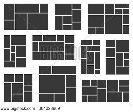 Photo Collage Set. Vector Mood Board. Creative Theme Mood Board, Logo Template, Collage Frames.