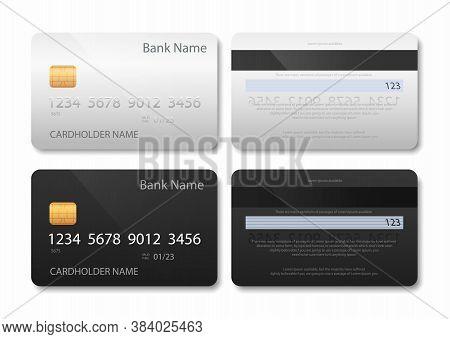 Bank Card. Credit Or Debit Cards Vector Illustration Set. Realistic Bank Plastic Cards.