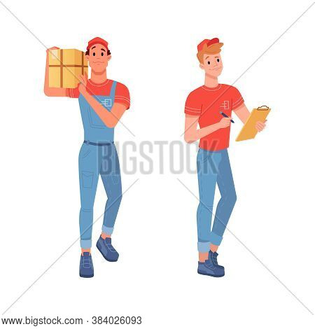 Delivery Couriers Delivering Goods Parcels And Waybill For Signature, Vector Flat Isolated Icons. Co