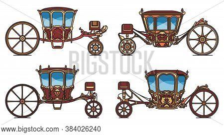 Wedding Carriage Set, Outline Retro Royal Chariot