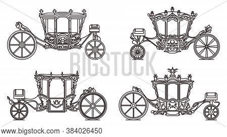 Outline Royal Wheel Transport, Vintage Icon Set