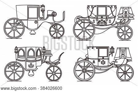 Outline Set Of Vintage Automobile Or Old Car