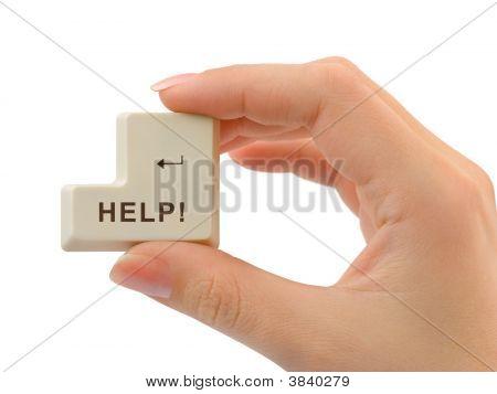 Computer Button Help In Hand