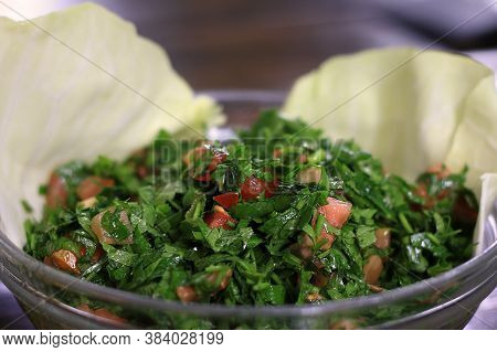 A Bowl Of Tabbouleh, The Most Popular Lebanese Salad.