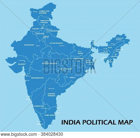 India Political Map Divide By State Colorful Outline Simplicity Style. Vector Illustration.
