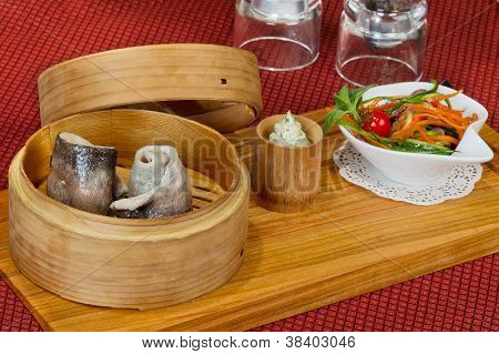 Creative Menu Of Fresh Trout In A Wooden Bowl, Steamed