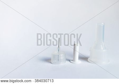 Insulin Pen Needles Isolated On White Background . Diabetes Concept. Insulin Injection Needle 3.5 Mm